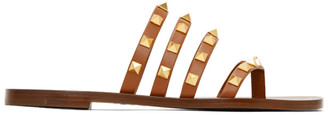 Valentino Brown Flair Slip-On Sandals