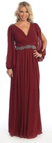 May Queen - Bishop Sleeve V Neck Chiffon Long Gown MQ1020
