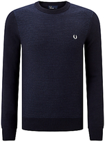 Fred Perry Textured Stripe Crew Neck Jumper