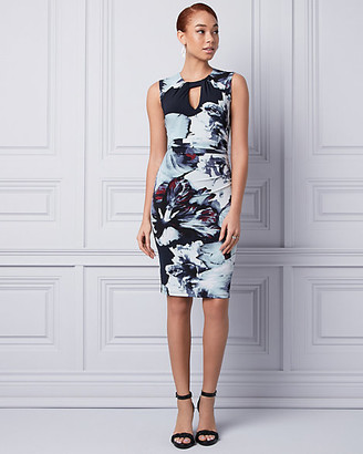Le Château Floral Print Knit Scoop Neck Shift Dress