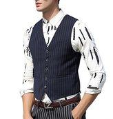 Zicac Men's 5 Button Suit Separate Vest Stripes Waistcoat (L, )