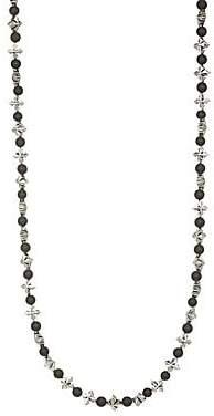 King Baby Studio Men's Cross & Onyx Beaded Necklace