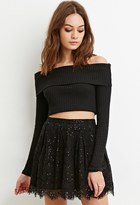 Forever 21 FOREVER 21+ Sequined Eyelash Lace Skirt