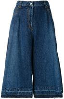 Sacai cropped denim culottes - women - Cotton - 2