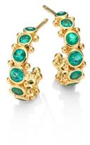 Temple St. Clair Eternity Emerald & 18K Yellow Gold Hoop Earrings/0.4