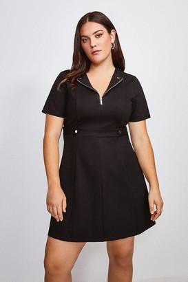 Karen Millen Curve Zip Front Ponte Short Sleeve Dress