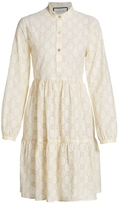 Gucci Micro GG Sangallo Macrame A-Line Dress