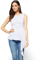 New York & Co. Peplum-Hem Poplin Shirt - White