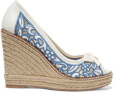 Tory Burch Lucia embroidered mesh and leather wedge espadrilles