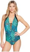 Jantzen Palm Springs Plunge Halter One-Piece Women's Swimsuits One Piece