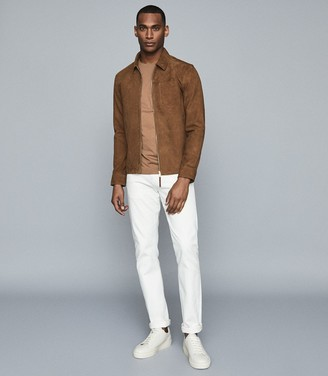 Reiss Marlo - Suede Zip Through Jacket in Tobacco