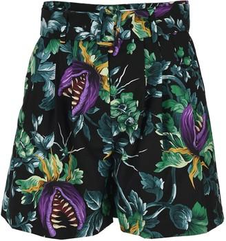 MSGM Floral Belted Shorts