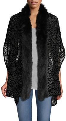 Adrienne Landau Fox Fur-Trim Burnout Silk Velvet Stole