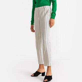 Cotton & Linen Striped Straight Trousers, Length 26""