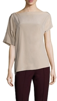 Tibi Heacy Silk Boatneck Top