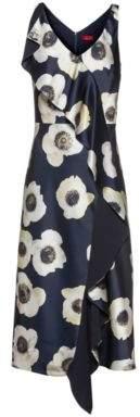 HUGO Oversized-floral-print sleeveless dress with cascading volant