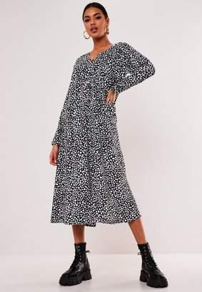 Missguided Black Dalmatian Button Down Midi Smock Dress