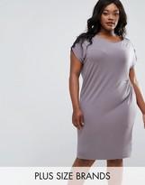 Elvi Plus Ruched Dress With Lace Trim