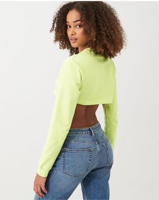 Nike NSW Air LS Crop Top - Limelight