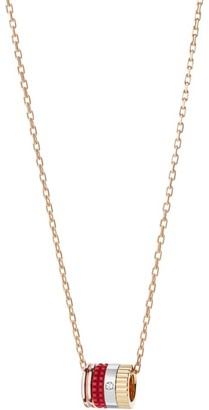 Boucheron Quatre Red Edition 18K Yellow Gold, Rose Gold, White Gold, Diamond & Red Ceramic Pendant Necklace