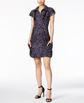 Kensie Printed Zippered-Neck Dress