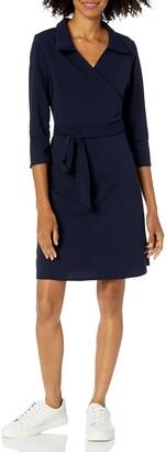Star Vixen Women's 3/4 Sleeve Faux Wrap Dress with Collar