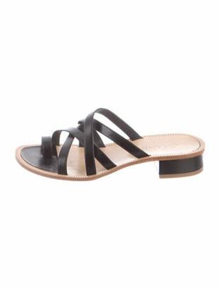 Chanel Leather Slides Black