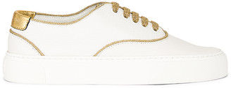 Saint Laurent Lace Up Sneakers in White & Gold | FWRD