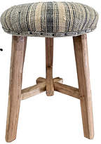 One Kings Lane Vintage Shandong Elm Stool with Hmong Hemp - multi/natural