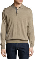 Toscano Long-Sleeve Wool-Blend Polo Shirt, Cobblestone