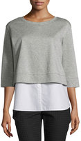 Lafayette 148 New York Popover Combo Sweatshirt Top, Nickel