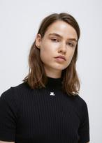 Courreges black high neck ss knit