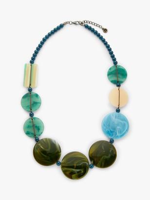 One Button Beaded Statement Necklace, Sea Breeze Blue/Multi