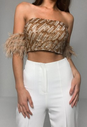 Missguided Nude Feather Sequin Bardot Crop Top