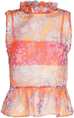 STAUD Val Sleeveless Paisley Top
