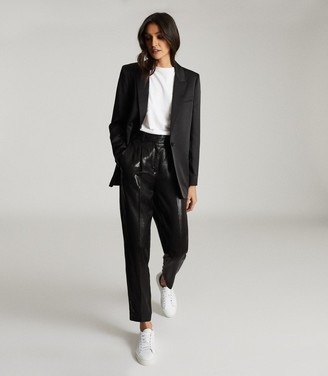 Reiss BEATRICE SATIN TAILORED BLAZER Black