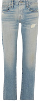 Current/Elliott The Crossover Faded Mid-Rise Straight-Leg Jeans
