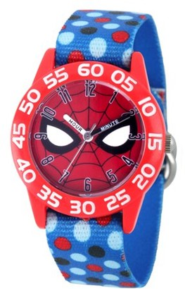 Marvel Spider-Man Boys' Red Plastic Time Teacher Watch, Blue Polka Dot Stretchy Nylon Strap