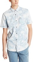 Buffalo David Bitton Men's Sixel Short Sleeve Light Weight Denim Woven Shirt