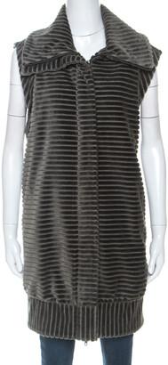 Diane von Furstenberg Grey Velvet Zip Front Vest L
