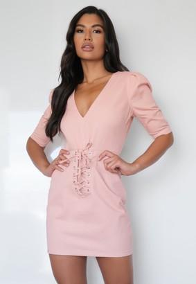 Missguided Pink Plunge Corset Tie Denim Dress