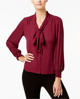 NY Collection Petite Tie-Neck Blouse