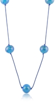 Murano Naoto Blue Glass Bead Long Necklace