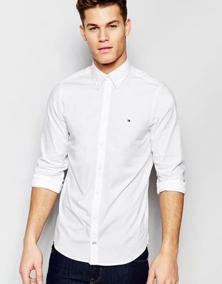 Tommy Hilfiger poplin shirt with stretch in slim fit in white