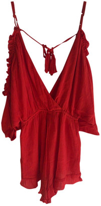 Lovers + Friends Red Cotton Jumpsuits