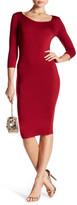 Soprano 3/4 Length Sleeve Bodycon Midi Dress