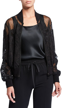 RED Valentino Lace Applique Bomber Jacket