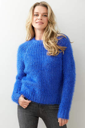 Lush Eyelash Chunky Stitch Pullover Cobalt S
