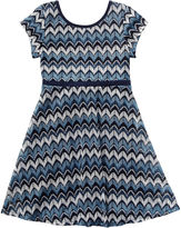 Youngland Young Land Short-Sleeve Blue Chevron Skater Dress - Preschool Girls 4-6x