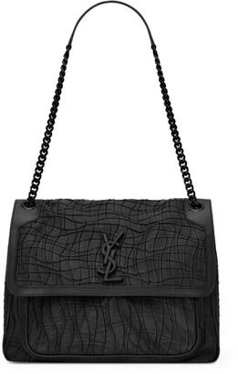 Saint Laurent Medium Croc-Embossed Leather Niki Shoulder Bag